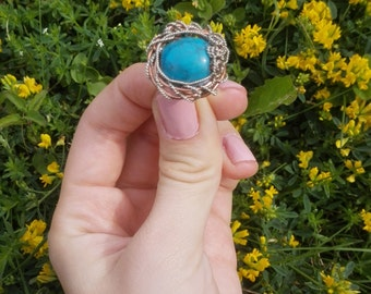 Ring of copper with turquoise, handmade
