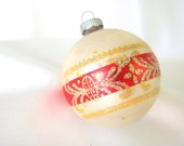 Vintage Shiny Brite Christmas Ornament - Matte White with Gold Glitter on Red Stripe Christmas Ornament