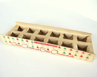 Vintage Empty Fanci Pak Long Shiny Brite Christmas Holiday Ornament Box
