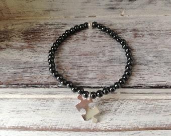 Hematite and Jigsaw Bracelet
