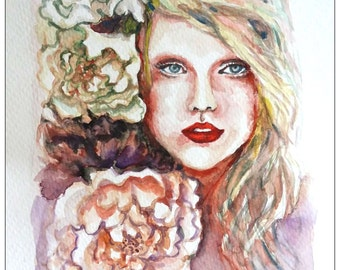 """Original Water Color Painting, Girl with flower I, 10""""x8"""", 0906165"""