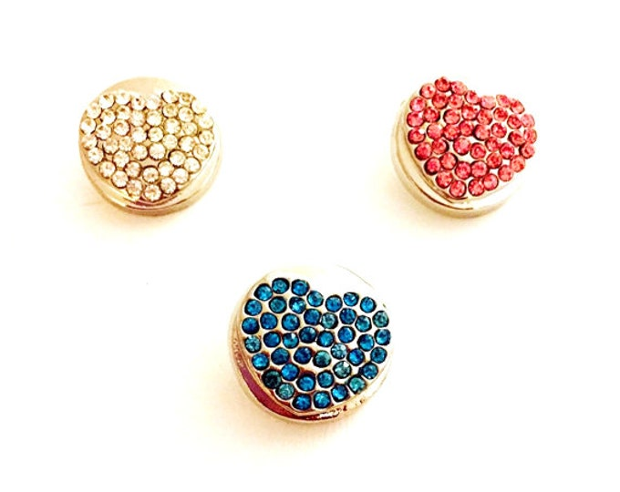 Snap Jewelry-Snap Buttons- Snap Charms, Rhinestone Snap Buttons, 18mm Snap Charms for Snap Necklaces, Snap Earrings, and Snap Bracelets