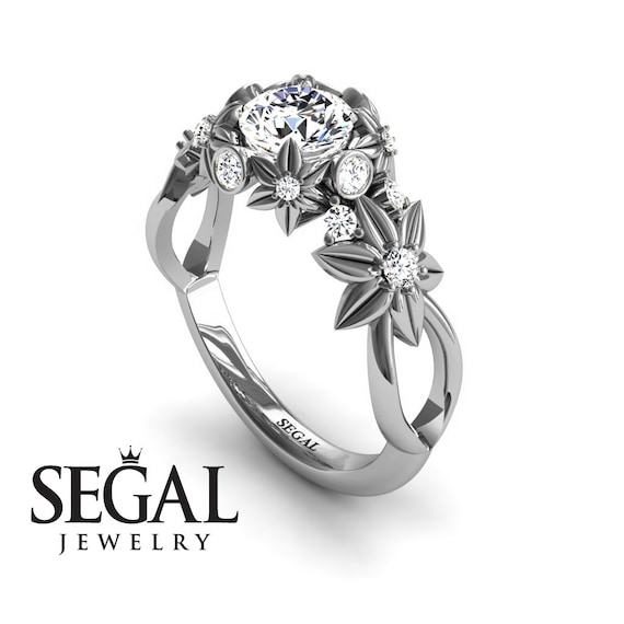 Unique Nature Inspired Engagement Ring Flower Engagement Ring