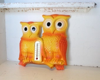 1979 Miller Chalkware Owl Thermometer! Amazing condition and such bright colors!
