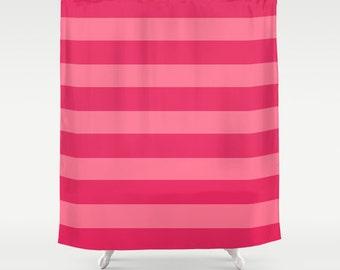 Pink Stripe Shower Curtain Girls Bathroom Striped Bathroom Decor Dorm Room Curtain Secret Shopping Theme Decor Girls bathroom pink stripes