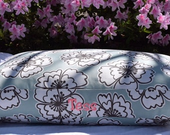 Hayley Dog Bed || Puppy Gift || Extra Large || Stylish Lilly Inspired Iceberg Blue Floral || Custom Embroider Dog Bed by Three Spoiled Dogs