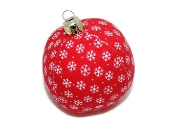 Christmas Ball 6 cm red white snowflakes stitched ball bauble Christmas bauble
