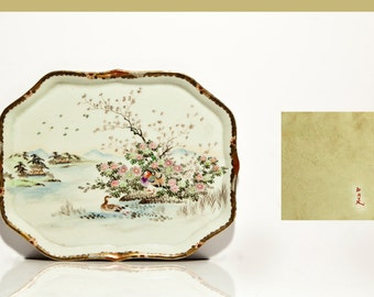 Japanese hand painted tray