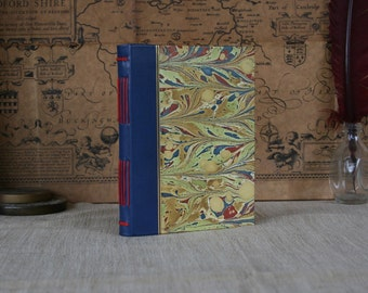 Leather hardcover journal, blue leather bound notebook, small journal, hand-marbled paper journal