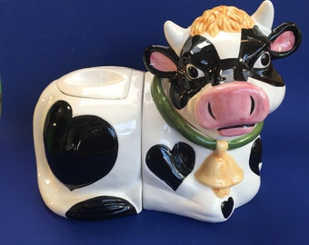 """Large 14"""" Vintage Pottery Cow 2 Part Cookie Jar Canister Steer Bull"""