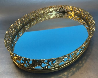 "Large 16"" Oval Vintage Bathroom Vanity Mirror Gold Makeup"