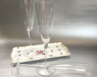 Rare Vintage Birks Crystal Champagne Flutes Glasses a Pair and a Spare