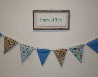 Childrens FABRIC bunting, 100% cotton, double-sided