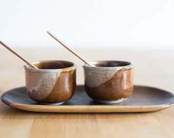 Handmade gres and wood dipping bowl set