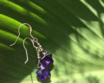 Small dark purple Swarvoski crystal star earrings