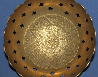 Vintage Floral Brass Pedestal Bowl