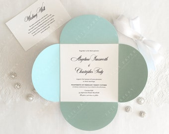 Square Wedding Invitation with Petal Pocket/Pouchette and matching envelope {Bloom} Suite