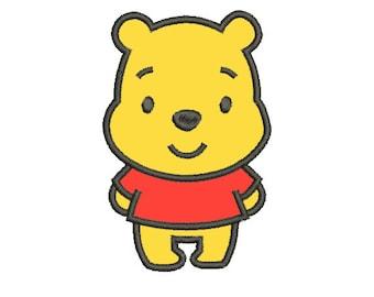 Winnie The Pooh Applique 4x4 5x7 - Embroidery Machine Design