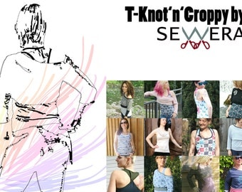 Sewing pattern and instruction for shirt + short pullover 'T-Knot'n'Croppy' by swiss designer Sewera