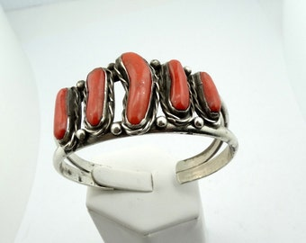 Hand Made Sterling Silver Red Coral Vintage Southwest Native American Cuff Bracelet #CORAL-CF5