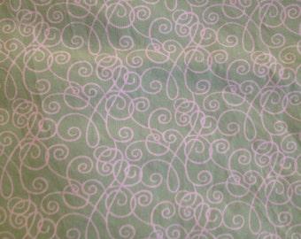 Baby Crib Sheet or Toddler Bed Sheet - Green Scroll