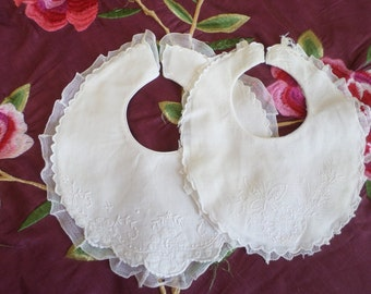 Lot 1 Two Gorgeous Vintage French Embroidered Baby Bibs, flowers and butterfly.