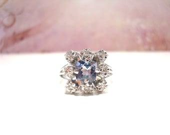 Enchanting 18 Carat White Gold Diamond Tanzanite Ring 5 Grams.