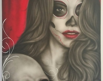 Love me when I'm gone day of the dead catrina airbrushed painting