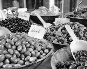 French Kitchen Art, French Market Print, Olives Wall Art for Kitchen, Food Photo, Black and White Dining Room Art, Modern Wall Print