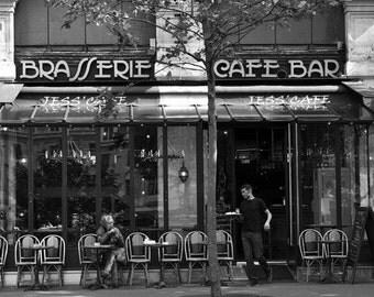 paris travel art paris cafe decor black white photography wall art print - Black Cafe Decor