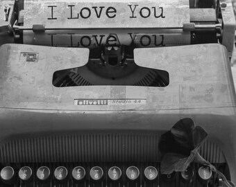 Typewriter Art Print, Black and White Photography, Old Typewriter Print, Gift for writer, I Love you Photo, Home Office Decor Picture