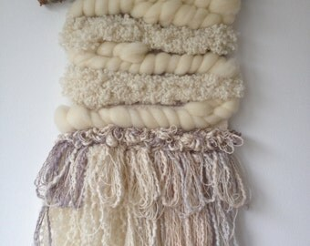 Woven Wall Hanging, Tapestry, weaving, cream