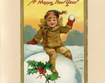 Vintage New Year Postcard Cute Girl on Huge Snowball Gold Border by Frances Brundage & Raphael Tuck Embossed Used Augusta ME ~ 6999Pb