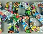 Custom Comic Book Wedding Set: Ring Box and Mr & Mrs Letters, Decoupage, OOAK, DC, Marvel