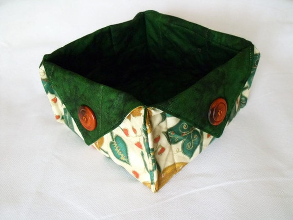 sweet basket, christmas bowl, candy basket, fabric box, nibbles bowl, christmas box, ivy and gold fabric with green marbled cotton lining