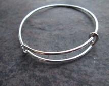 "Child Size Adjustable Bangle Bracelet 2"" diameter Children's bangle bracelet expandable bangle High Quality Shiny Silver finish"