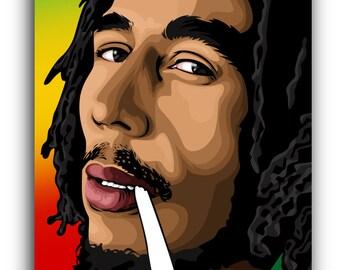 Bob Marley Smoking Canvas Art Print Illustration A1 A2 A3 A4