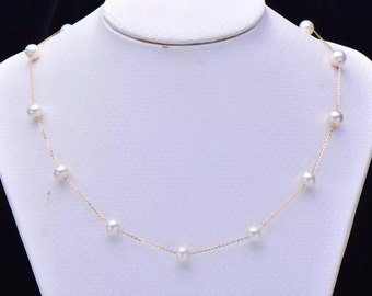 Solid 18K Yellow Gold 10mm Pearl Necklace