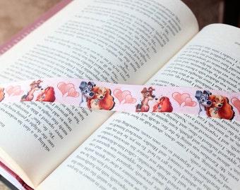 Lady and the Tramp bookmark, ribbon bookmark, Disney bookmark, dog bookmark