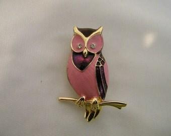 Vintage Boucher Pink Enamel Owl Signed Numbered Brooch Pin