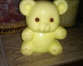 Antique bear coin bank figurine, thin glaze no cracks as most start to crack from the vtg way glazed 50s  ceramics,vtg yellow bear bank 5inc