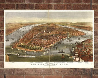 New York City  Vintage Print Poster Map in 1870