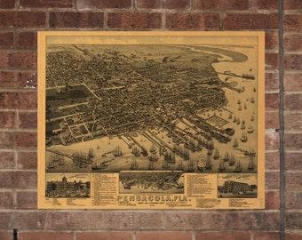 Pensacola FL Vintage Print Poster Map 1885