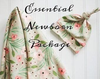 Newborn Gift Set. Newborn Essentials Package - Organic Cotton Swaddling Blanket and Organic Knotted Beanie. Baby Shower Gifts under 50.