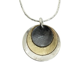 Tri Color Necklace, Graduated Discs, Domed Discs Pendant, 925 Sterling Silver & 14K Gold Filled, Stera Jewelry Y894
