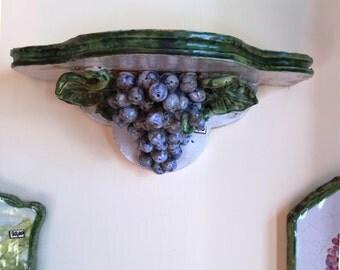 Ceramic Shelf with Bunch of Grapes* Mensola di Ceramica con Grappoli d'Uva