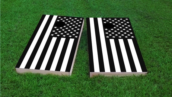 Black And White American Flag Cornhole Board Set With Bags