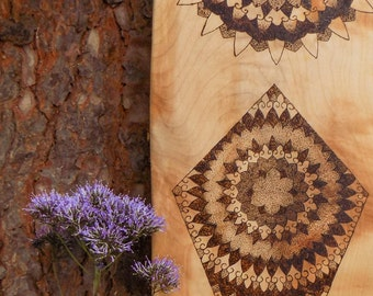 Mandala  --  Hand-burned, hand-crafted, Scottish Sycamore skateboard
