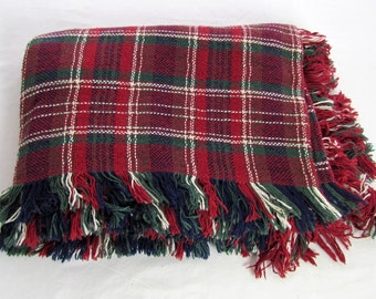 Cotton Plaid  Blanket, Throw, Afghan - Red, Green and White