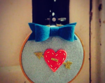 Embroidery Hoop Art, Wall Art, Blue with Red Heart
